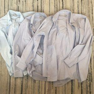 Bundle of 3 men's shirts LLBean 15.5 and 16 blue